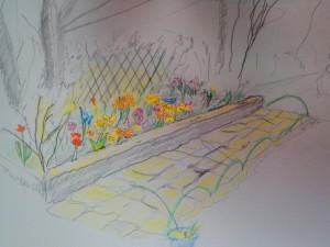 にぎやかな花壇